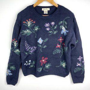 VTG Eddie Bauer Navy Floral Knit Sweater Small